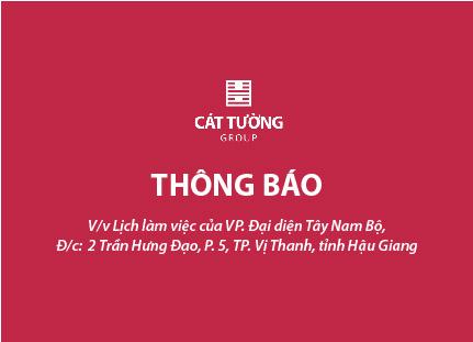 Thông báo lịch làm việc của Văn phòng Đại diện Tây Nam Bộ, tỉnh Hậu Giang